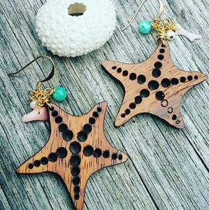 GP Koa starfish earrings